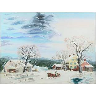 Walter Said, Large Oil/c Winter in Bucks County, Pa