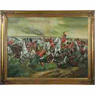 """French Soldiers Battle Scene Oil Painting """"The Charge"""""""