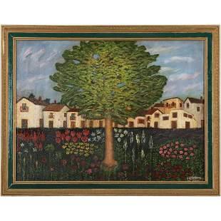 F Astilleros, Oil/c Tree in Landscape Vintage Painting