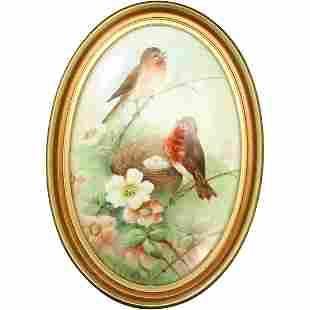 19th C Porcelain Painting Birds at Nest, C K Wlikenson