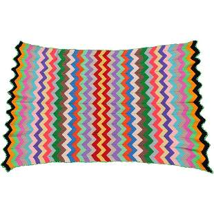 Crochet Colorful Bed Coverlet Blanket Geometric - Clean