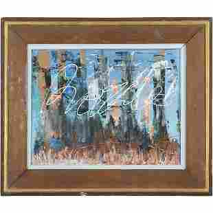 Mid-Century Modern Abstact Oil Painting Vintage