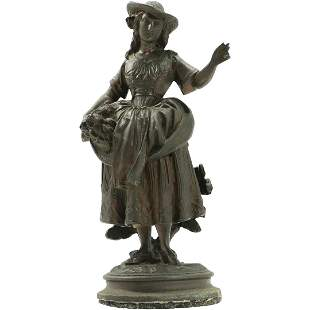 Victorian Cast Metal Figure Peasant Girl Statue