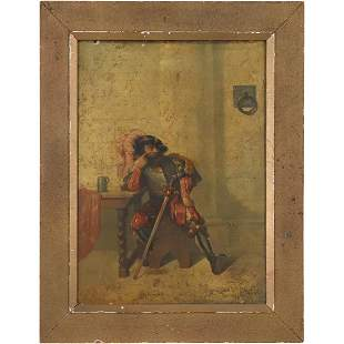 19th C. Oil Painting of a Muskateer Signed Illegible