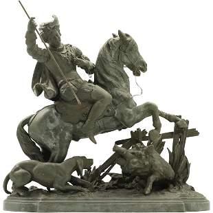 Victorian Cast Metal Grouping Wild Boar Hunt Statue