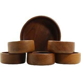 6 Pc. Teak Wood Salad Bowl Set Mid-Century Modern