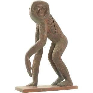 Milon Popovic, Carved Wood Monkey Sculpture Signed