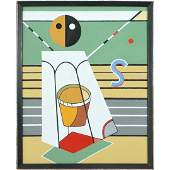 after Stuart Davis, Oil on Canvas Abstract Painting