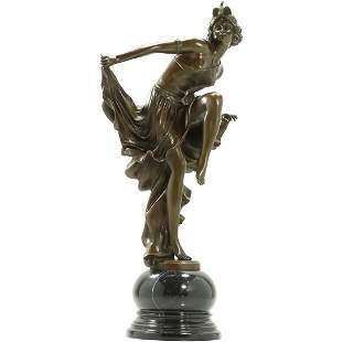 After A. Gory, Bronze Art Deco Dancer in Flowing Skirt