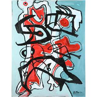 R Monti, Mid-Century Modern Abstract Composition O/c