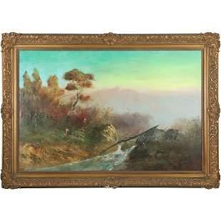 H Fischer, 19th C. Hudson Valley School Landscape Oil/c