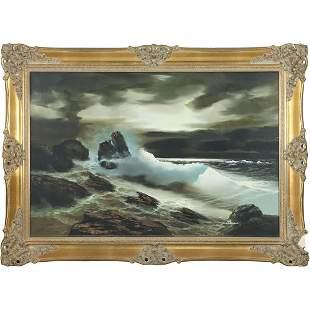 De Giulio, Vintage Oil/c Seascape Waves Painting
