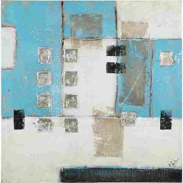 B Parker, Mid-Century Large Mixed Media Abstract Oil/c