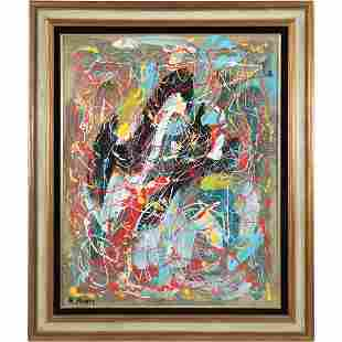 R Monti, Mid-Century Modern Abstract Drip Art O/c