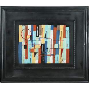 Mid-Century Modern Geometic Oil Painting Circle Squares