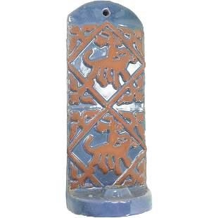 Mid-Century Modern Blue Glaze Red Ware Pottery Sconce.