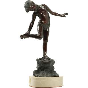 Bronze Young Boy Standing on Rock Formation Sculpture