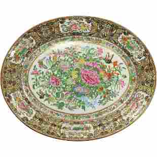 Famille Rose Fine Porcelain Asian Oriental Oval Platter