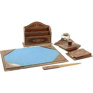 Italian Leather 6 Piece Ink Well Desk Set