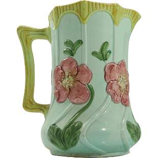 Majolica Glazed Ceramic Pitcher with Flowers in Relief
