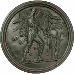 Round Bronze Plaque of Hercules and Lion - Nice Detail