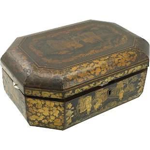 19th C. Oriental Black Lacquer Wood Box Gold Decoration