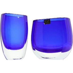 [2] San Carlos by BLOCK Cobalt Blue to Clear Vases