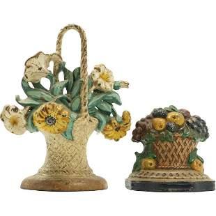 [2] Antique Cast Iron Doorstops Basket Flowers / Fruit