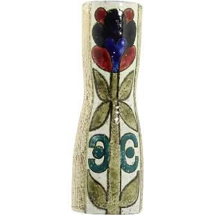 Mid-Century Modern Ceramic Tall Vase Flower Signed