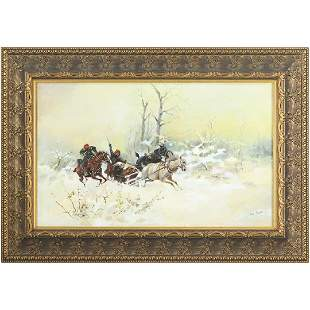 Jozef Brandt 1841-1915 attributed, Winter Chase, Oil/b
