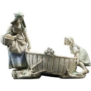 Amphora Fine Porcelain Mother & Daughter Pulling Basket