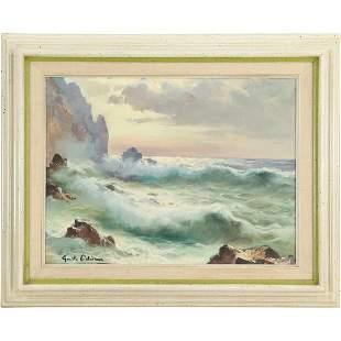 Emilo Odiema, Italy, Oil/c Seascape Painting Signed