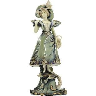 Fine Teplitz Austrian Art Nouveau Woman Basket Flowers