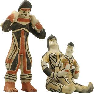 [2] South American Clay Figures All Hand Decorated
