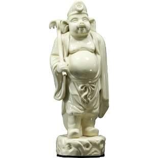 Unique Oriental White Porcelain Pig Head Buddha Figure