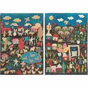 Pair of Primitive Folk Art Embroidered Farm Scenes