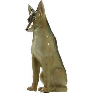 Large Porcelain Dog Figure Statue