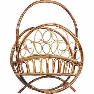 Mid-Century Stylish Round Bamboo Magazine Holder