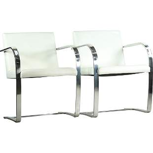 [2] BRNO Ludwig Mies Van Der Rohe Flat Bar Arm Chairs