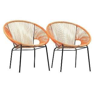 2 Mid-Century Metal Circle Chairs Orange Plastic Web