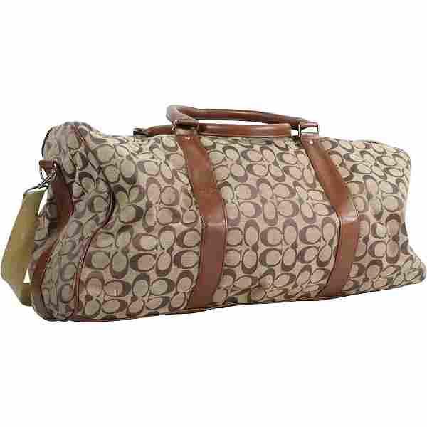 COACH Signature Duffel Bag, Brown and Tan