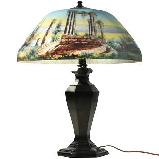 Antique Reverse Painted Shade Table Lamp, Cracked Shade