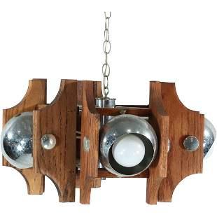 Robert Sonneman Style Wood & Chrome Eye Ball Chandelier