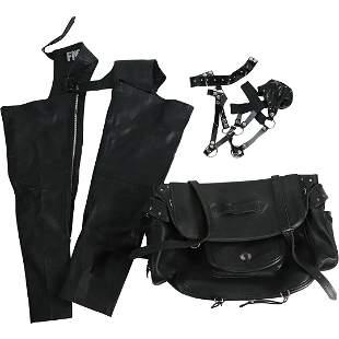 Motorcycle Leather: Chaps, Black Saddle Bag, Etc