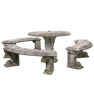 Henri Studio, Stone Outdoor Serpent Table and Bench Set