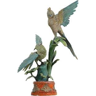 Bronze Macaw Birds Sculpture on Red Marble Base
