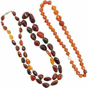 [2] Amber Beads Necklaces , Graduated, Costume