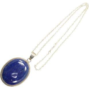 .925 Sterling Silver Large Lapis Pendant Necklace