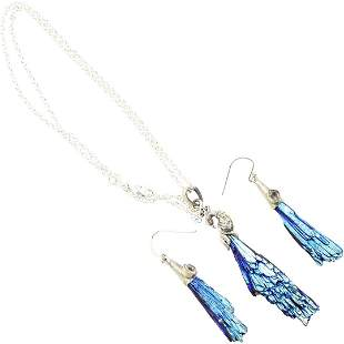 .925 Sterling Silver Peacock Necklace; Pair Earrings