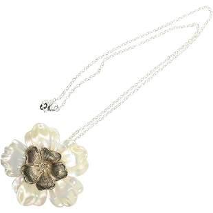 .925 Sterling Silver Large MOP Floral Pendant Necklace